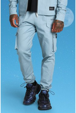 Blue Slim Twill Cargo Trouser With Bungee Cords