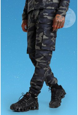 Slim Twill Camo Cargo Trouser With Bungee Cords