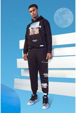 Black Tall Slim Sky Print Hooded Tracksuit