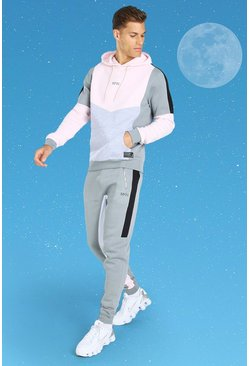 Charcoal grey Tall MAN Colour Block Hooded Tracksuit