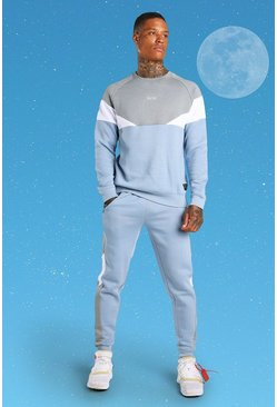 Blue MAN Colour Block Sweater Tracksuit