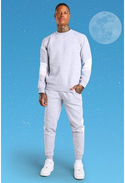 Grey Official MAN Colour Block Sweater Tracksuit