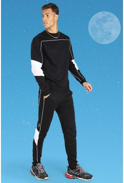 Black Tall Official MAN Colour Block Sweater Tracksuit