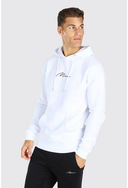 Tall MAN Signature Embroidered Hoodie, White blanc