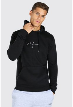Tall MAN Signature Embroidered Hoodie, Black noir