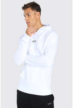 Tall Original MAN Embroidered Hoodie, White blanc