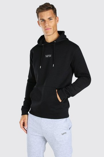 Black Tall Original MAN Embroidered Hoodie
