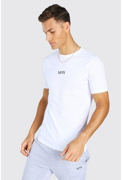 Tall Original MAN Embroidered T-Shirt, White blanc