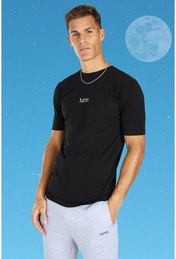 Tall Original MAN Embroidered T-Shirt, Black noir