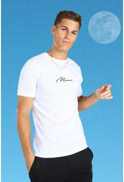 Tall MAN Signature Embroidered T-Shirt, White blanc