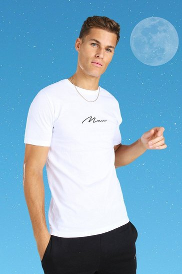 White Tall MAN Signature Embroidered T-Shirt