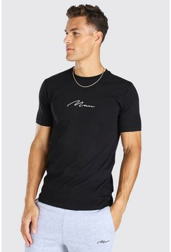 Black Tall Man Signature Geborduurd T-Shirt