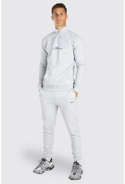 Tall MAN Signature Half Zip Tracksuit, Grey marl grigio
