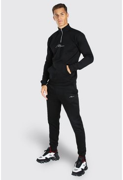 Black Tall MAN Signature Half Zip Tracksuit