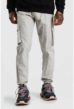 Stone Peached Shell Cargo Trouser With Bungee Cords