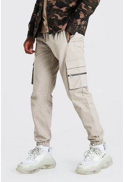 Stone Twill Multi Zip Pocket Cargo Trouser