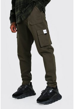 Khaki Utility Pocket Cargo Jogger Trouser With Zip Hem