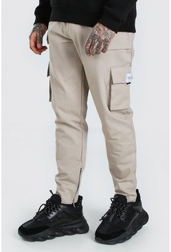 Stone Utility Pocket Cargo Jogger Trouser With Zip Hem