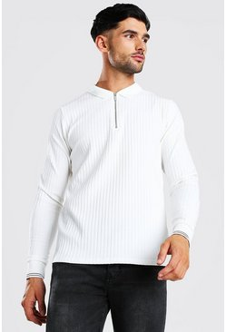 Cream Long Sleeved Ribbed Knit Polo With Stripes