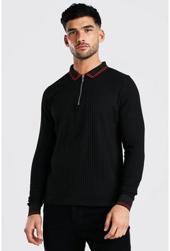 Black Long Sleeved Ribbed Knit Polo With Stripes