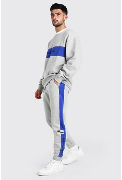 Blue Official Oversized Colour Block Sweater Tracksuit