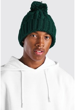 Green Chunky Knit Bobble Hat