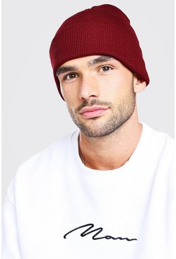 Burgundy red Rib Knit Beanie