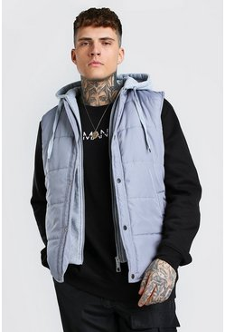 Grey Padded Gilet With Jersey Hood