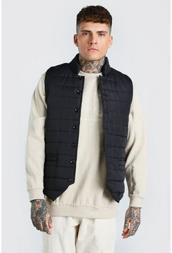 Black Smart Button Down Padded Gilet