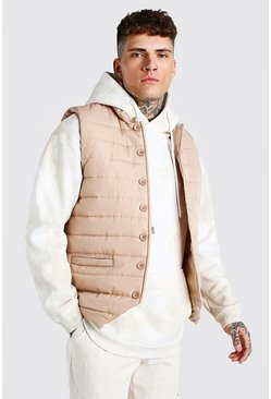 Smart Button Down Padded Gilet, Stone beige