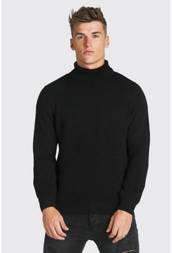 Black Chunky Ribbed Roll Neck Jumper