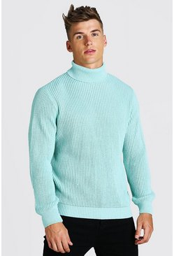 Mint Chunky Ribbed Roll Neck Jumper