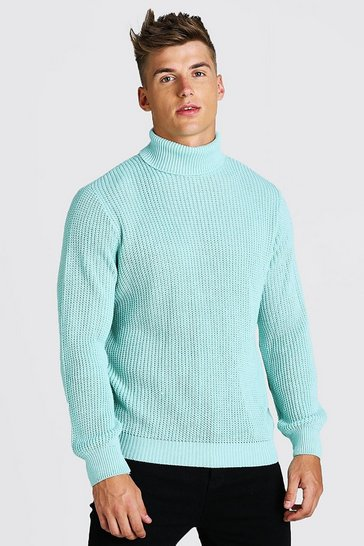 Mint green Chunky Ribbed Roll Neck Jumper