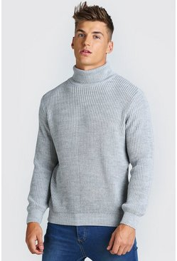 Grey marl grey Chunky Ribbed Roll Neck Jumper