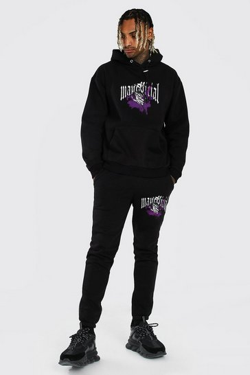 Black Oversized Official MAN Reaper Hooded Tracksuit