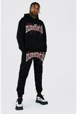 Black Oversized Official Sinner Hooded Tracksuit
