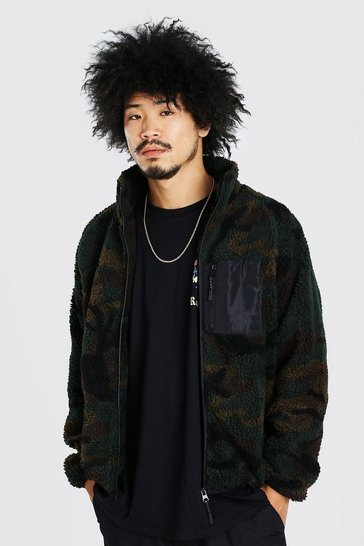 Khaki Funnel neck Camo Borg Jacket with Contrast Pocket