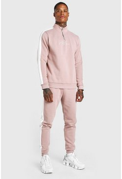 Dusky pink pink MAN Signature Half Zip Tracksuit With Tape