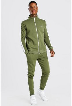 Khaki MAN Signature Track Top And Jogger With Tape