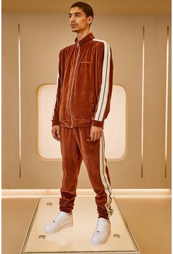 Brown Velour MAN Official Tape Track Top And Jogger