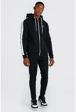 Black Original MAN Zip Hooded Tracksuit With Tape