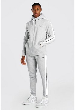 Original MAN Zip Hooded Tracksuit With Tape, Grey marl gris
