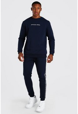 Navy Official MAN Tape Sweater Tracksuit