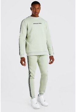 Sage green Official MAN Tape Sweater Tracksuit