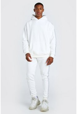 Ecru white MAN Official 3D Embroidered Tape Tracksuit