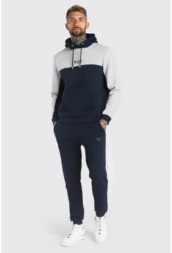 Navy Man Colour Block Trainingspak Met Streep En Capuchon
