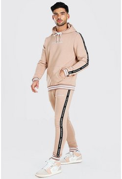Taupe beige Official MAN Tape Hooded Tracksuit With Rib