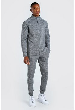 Grey MAN Signature Poly Muscle Fit Half Zip Tracksuit