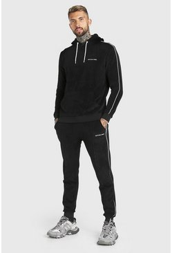 Black Official MAN Hooded Tracksuit in Towelling