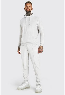 Stone beige Official MAN Hooded Tracksuit in Towelling